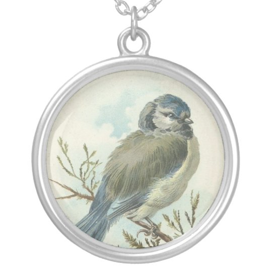 Vintage Blue Bird Silver Plated Necklace