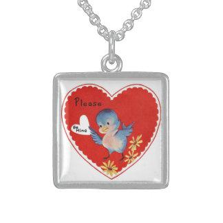 Vintage Blue Bird Valentine Sterling Necklace