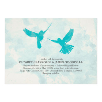 Vintage Blue Bird Wedding Invitations