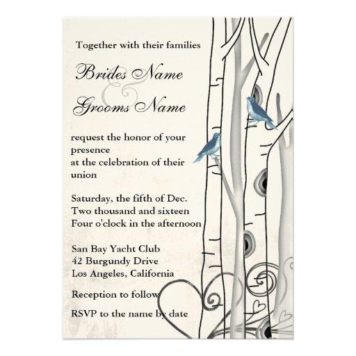 Vintage Blue Birds Birch Trees Wedding Invites Custom Announcements