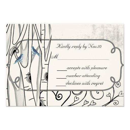 Vintage Blue Birds Birch Trees Wedding RSVP Invite
