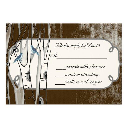Vintage Blue Birds Birch Trees Wedding RSVP Custom Invites