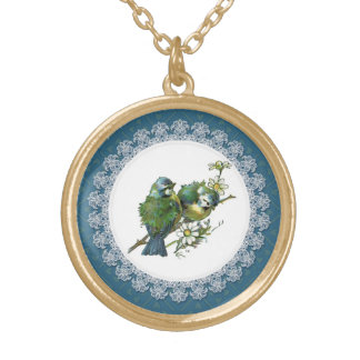 Vintage Blue Birds Round Pendant Necklace