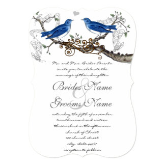 "Vintage Blue Birds Wedding Invitations 5"" X 7"" Invitation Card"
