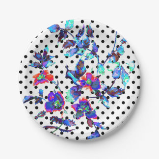 Vintage blue Black and white polka-dots 7 Inch Paper Plate