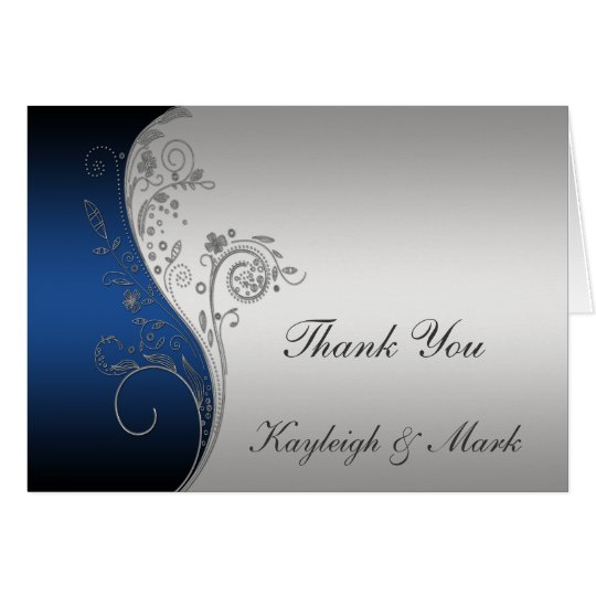 Vintage Blue Black Silver Thank You Card