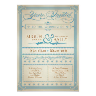 Vintage Blue & Brown Wedding Invitation