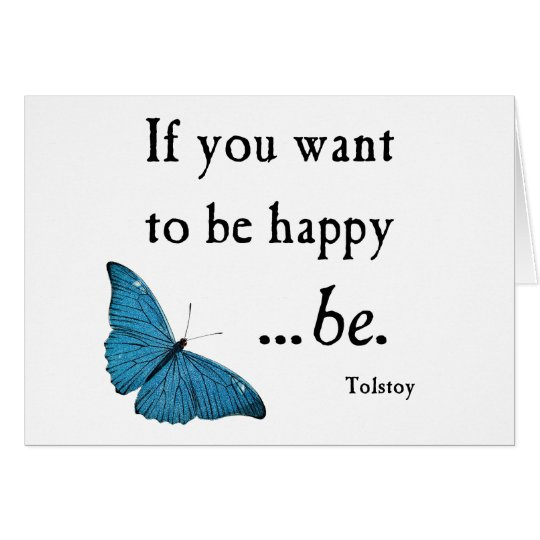 Vintage Blue Butterfly and Tolstoy Happiness Quote Card