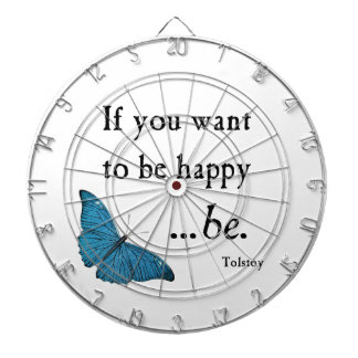 Vintage Blue Butterfly and Tolstoy Happiness Quote Dartboard