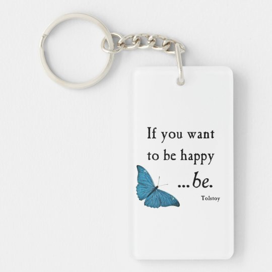 Vintage Blue Butterfly and Tolstoy Happiness Quote Double-Sided Rectangular Acrylic Key Ring