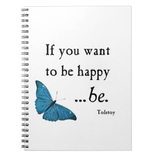 Vintage Blue Butterfly and Tolstoy Happiness Quote Notebooks