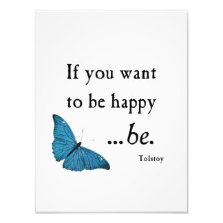 Vintage Blue Butterfly and Tolstoy Happiness Quote Photo Print