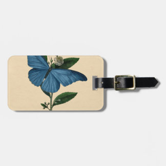 Vintage Blue Butterfly Luggage Tag