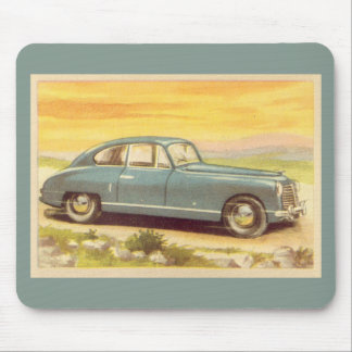 Vintage Blue Car Print Mouse Mat