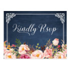 Vintage Blue Chalkboard Floral Wedding RSVP Postcard