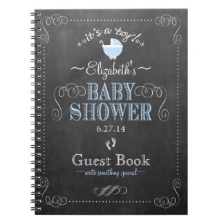 Vintage Blue Chalkboard Look Baby Shower Guestbook Notebook