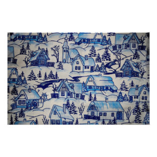 Vintage Blue Christmas Holiday Village Stationery