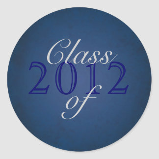 Vintage Blue Class of Silver Graduation Sticker