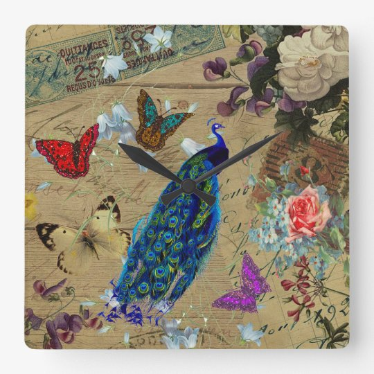 Vintage Blue Colourful Peacock Cute Butterfly Square Wall