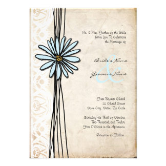 Vintage Blue Daisy Wedding Invitation