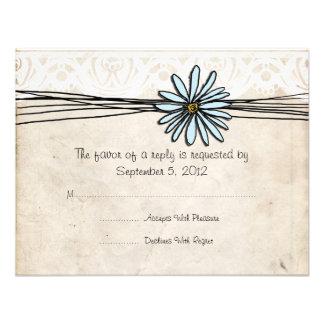 Vintage Blue Daisy Wedding RSVP Invitations