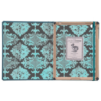 Vintage Blue Damask Distressed Covers For iPad