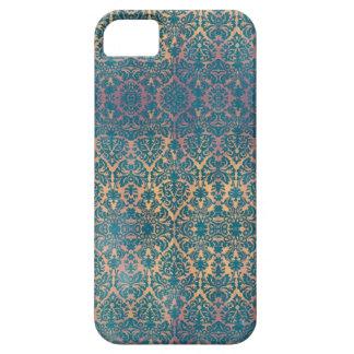 Vintage Blue Damask Floral Grunge iPhone Case