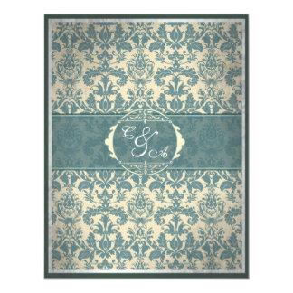 "Vintage Blue Damask reception card 4.25"" X 5.5"" Invitation Card"
