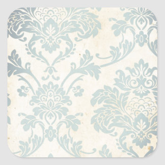 Vintage Blue Damask Square Sticker