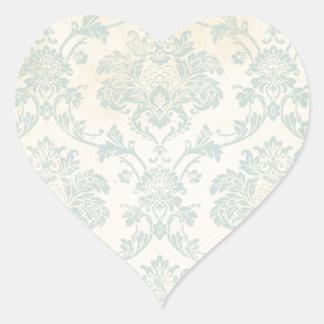Vintage Blue Damask Heart Stickers
