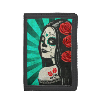 Vintage Blue Day of the Dead Girl Tri-fold Wallet
