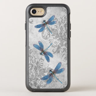 Vintage Blue Dragonflies on Gray Grunge Damask OtterBox Symmetry iPhone 8/7 Case