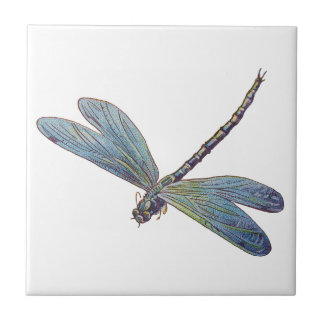 Vintage Blue Dragonfly Tile