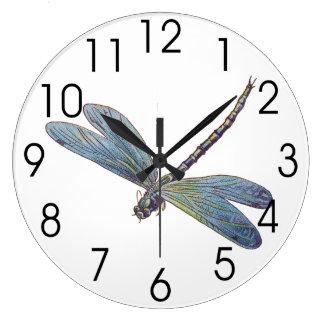Vintage Blue Dragonfly Wall Clock