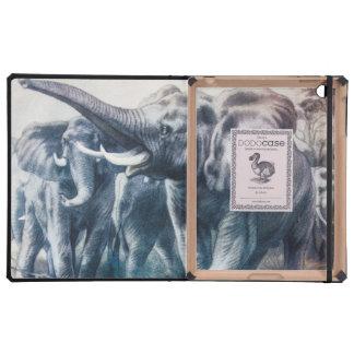 Vintage Blue Elephants Illustration Case For iPad