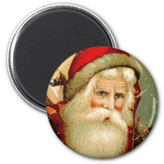 Vintage Blue Eyed Santa Christmas 6 Cm Round Magnet