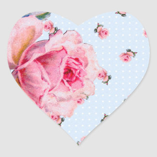 Vintage blue floral and dots heart sticker