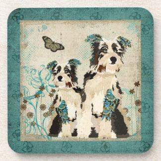Vintage Blue Floral Dogs Coaster
