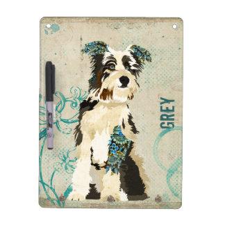 Vintage Blue Floral Dogs Dry Erase Board