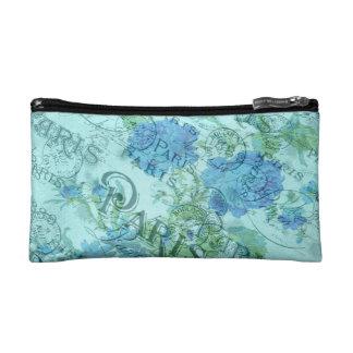 Vintage Blue Floral French Paris Postmark Pattern Cosmetic Bag
