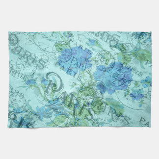 Vintage Blue Floral French Paris Postmark Pattern Tea Towel