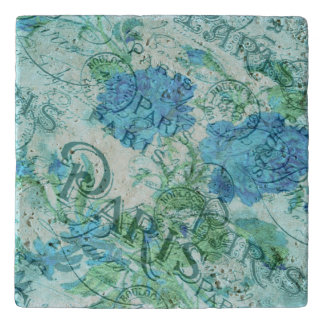 Vintage Blue Floral French Paris Postmark Pattern Trivet