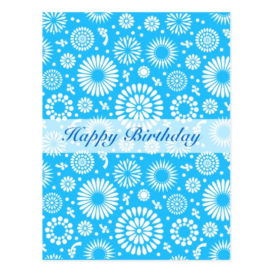 Vintage Blue floral Happy Birthday Postcard