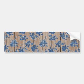 Vintage Blue Floral Pattern Bumper Stickers