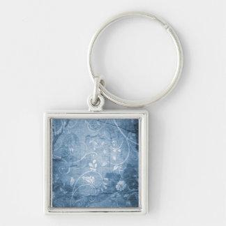 Vintage Blue Floral Pattern Key Chain