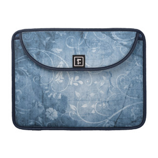 Vintage Blue Floral Pattern Sleeves For MacBook Pro