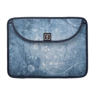 Vintage Blue Floral Pattern Sleeve For MacBooks