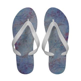 Vintage blue floral print flip flops