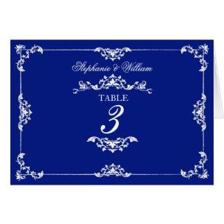 Vintage Blue Floral Wedding Table Number Card