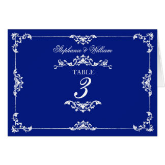 Vintage Blue Floral Wedding Table Number Note Card